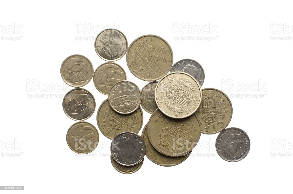 Pile of old spanish coins stock photo