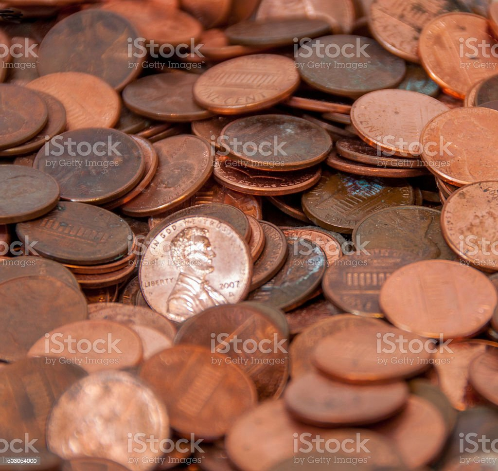 Pile of Old, Tarnished Pennies stock photo