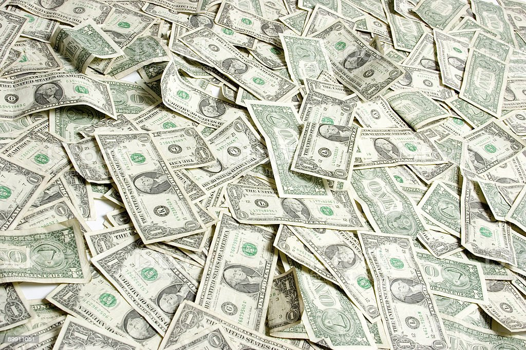 Pile of one dollar bills in color stock photo