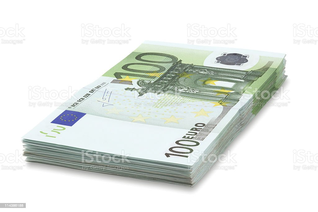 Pile of one hundred euro banknotes. stock photo
