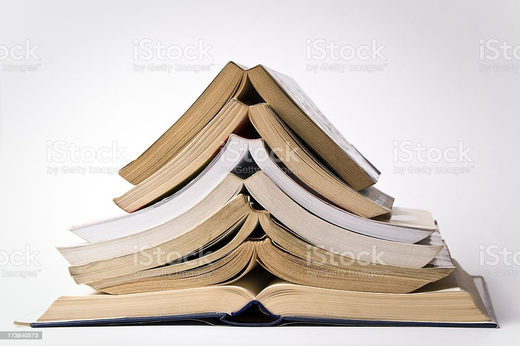 pile of open books royalty-free stock photo