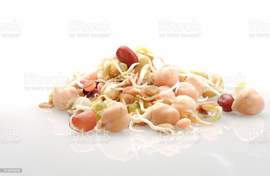 Pile of organic beans sprouts on white background. stock photo
