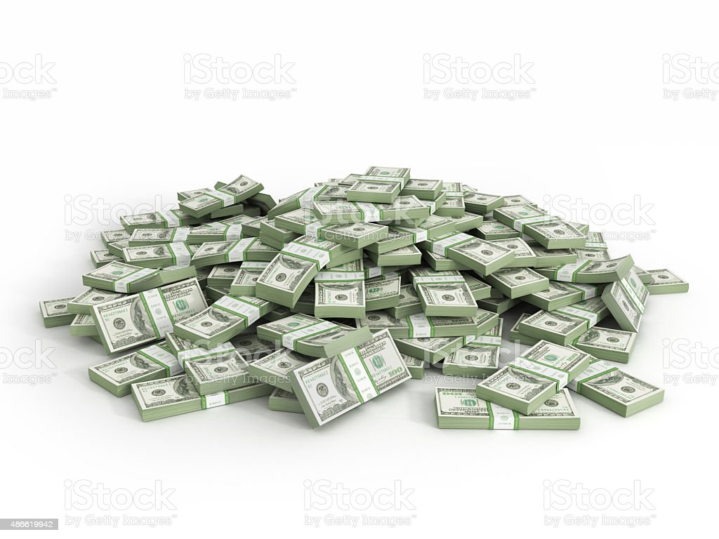 Pile of packs of dollar bills stock photo