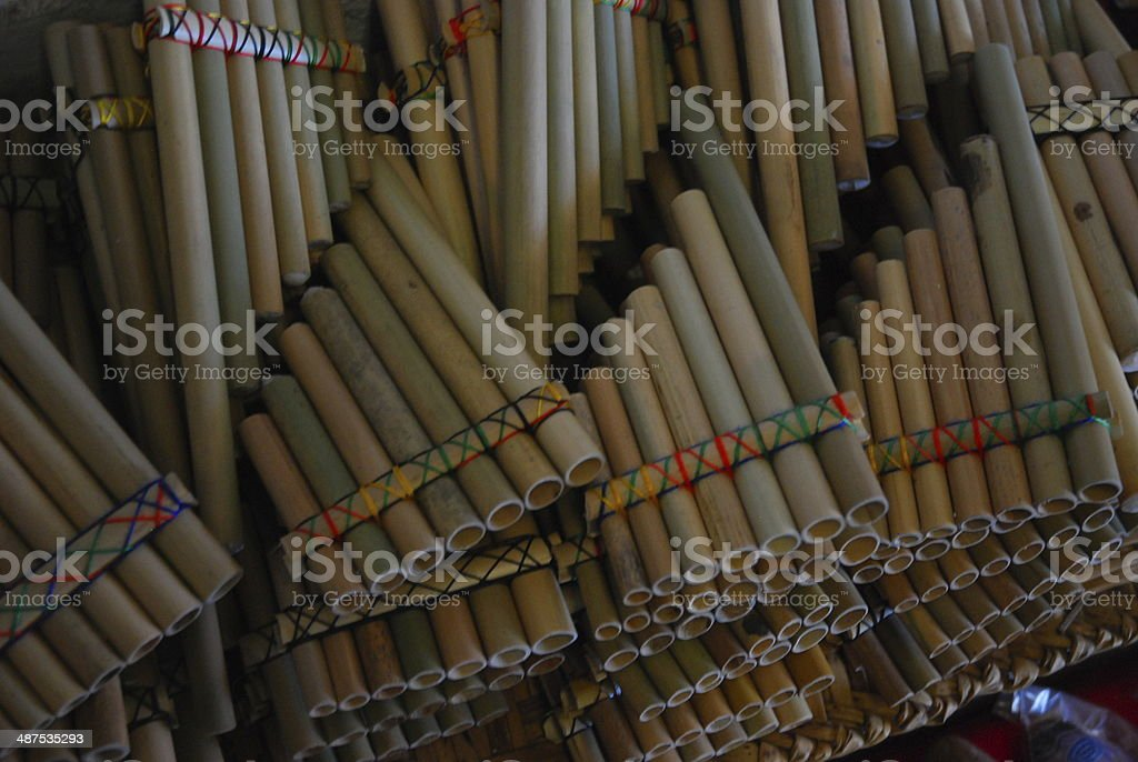 Pile of Pan Pipes royalty-free stock photo