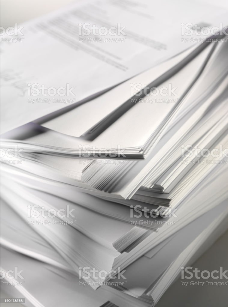 Pile of Paper and Writing royalty-free stock photo