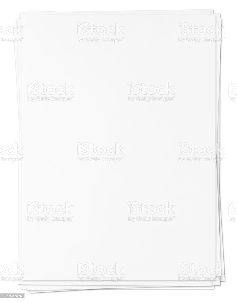 Pile of paper sheets (XXXL with path) stock photo