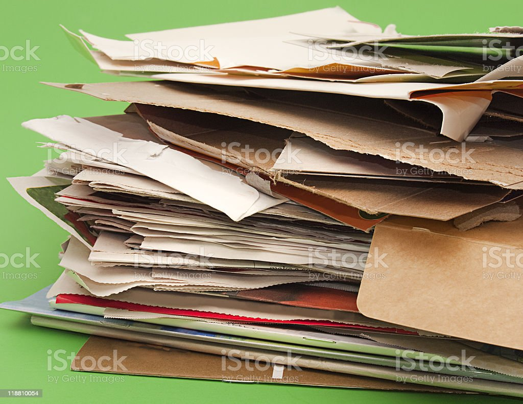 Pile of papers, cardboard, and magazines for recycling royalty-free stock photo