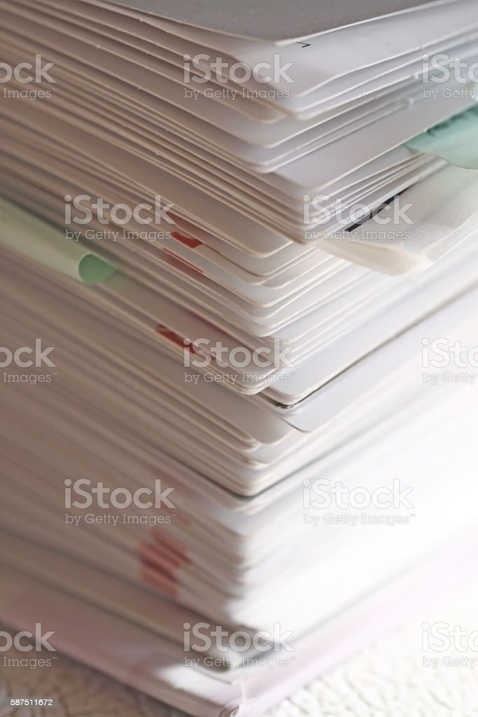 Pile of papers stock photo