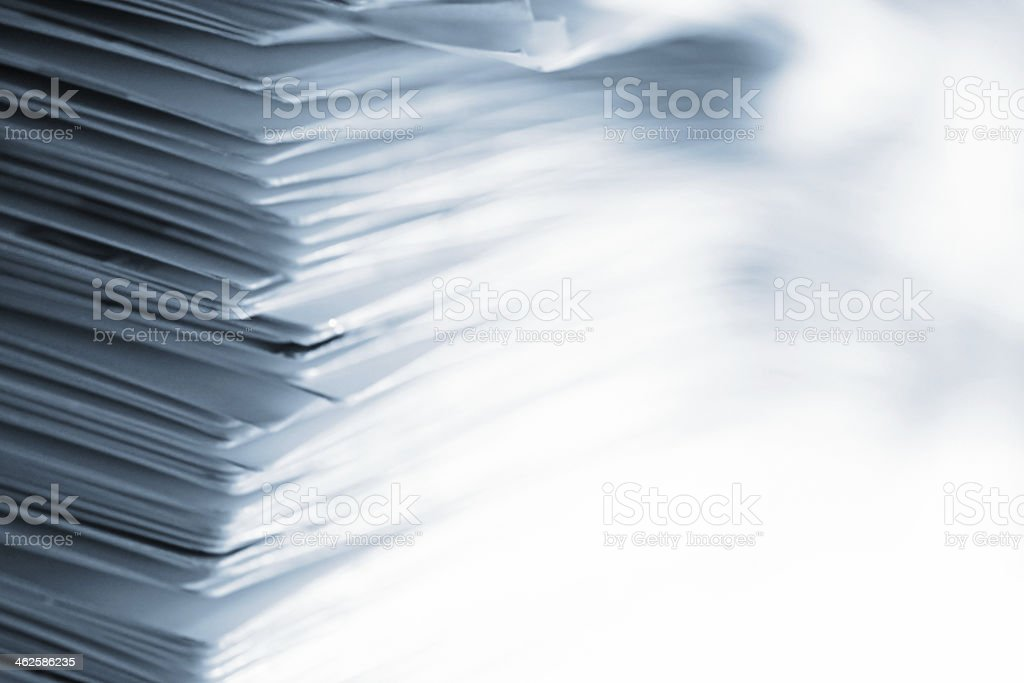 Pile of papers with high key effect stock photo