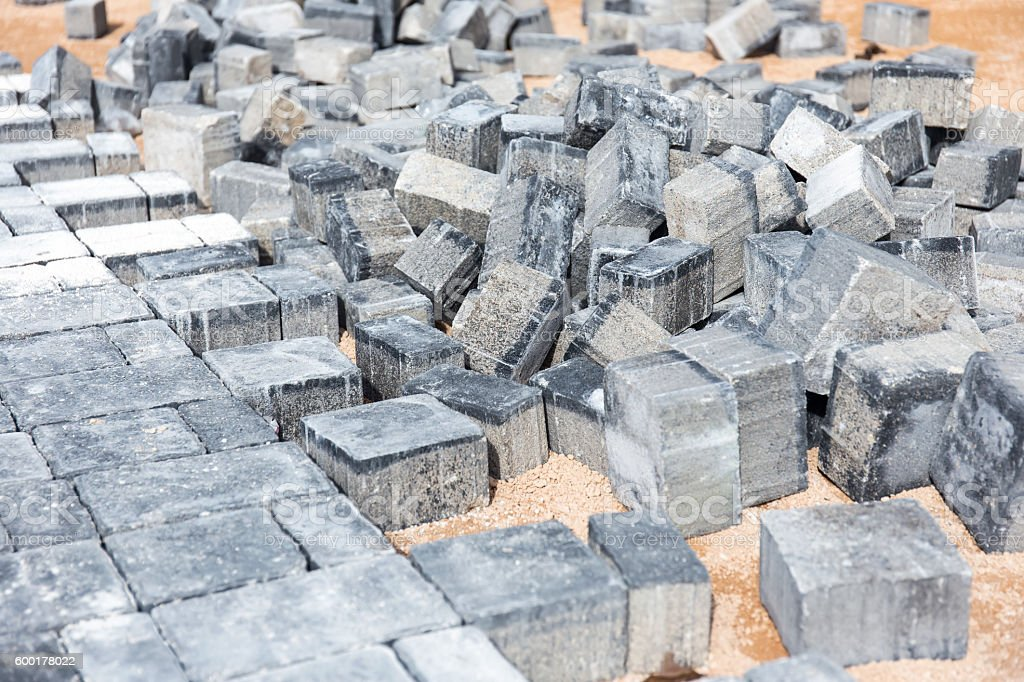 Pile of paving stone. Ready for construction stock photo