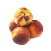 Pile of peach fruits isolated