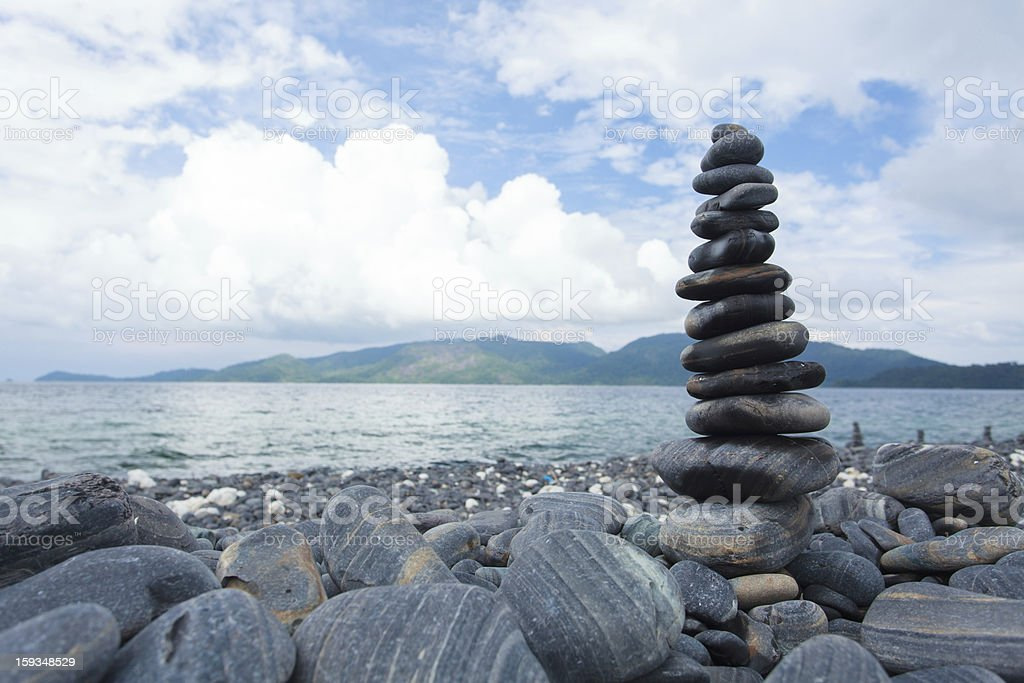 Pile of pebble stone on the beach royalty-free stock photo