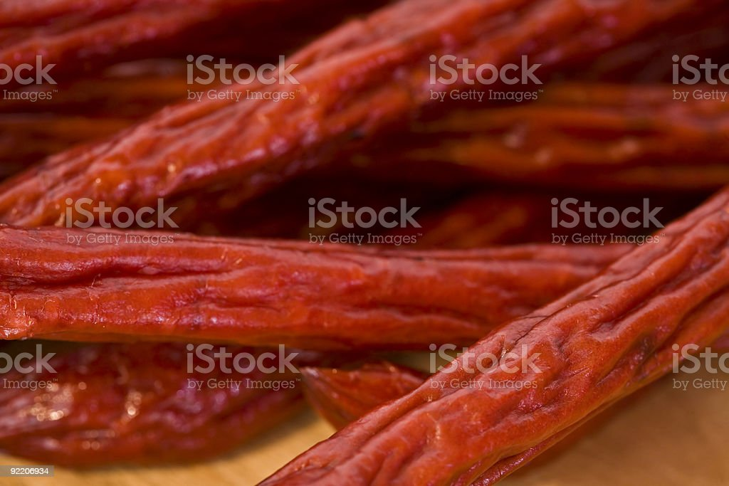 A Pile of Pepperoni Sticks royalty-free stock photo