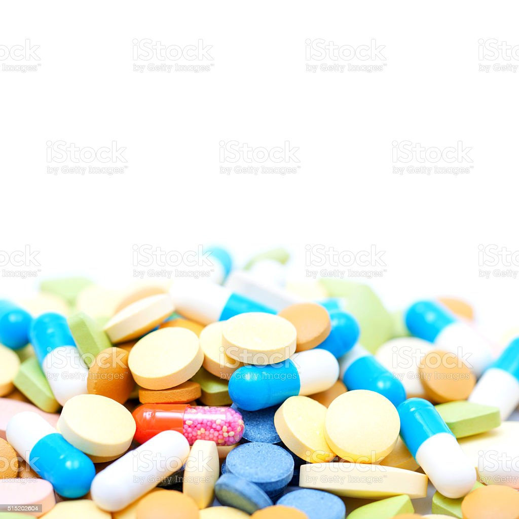Pile of pills (Capsule) isolated on white background stock photo