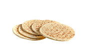 pile of pita bread on a white background