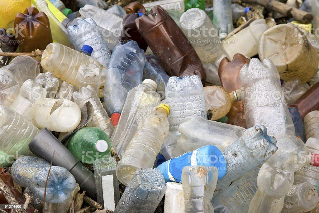 Pile of plastic pet bottles stock photo