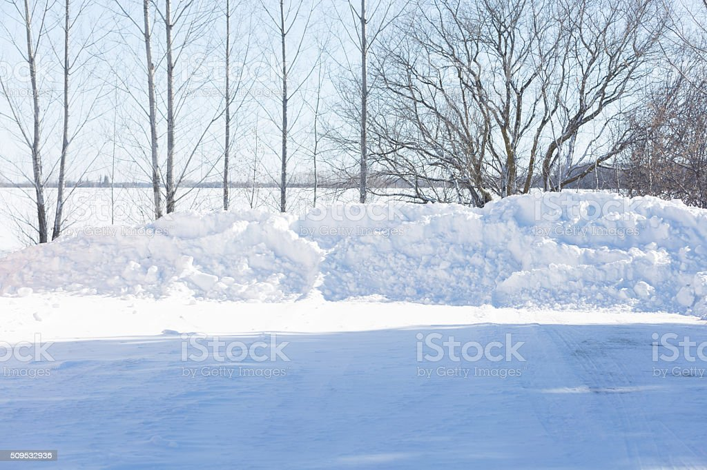 Pile of Plowed Snow After a Blizzard stock photo