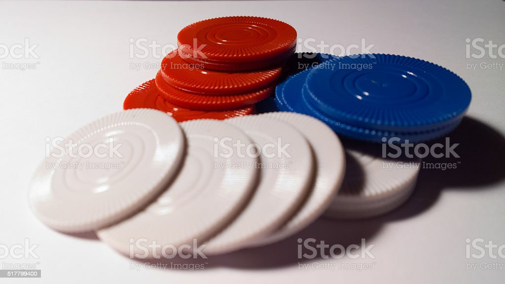 Pile of Poker Chips Surface Level stock photo
