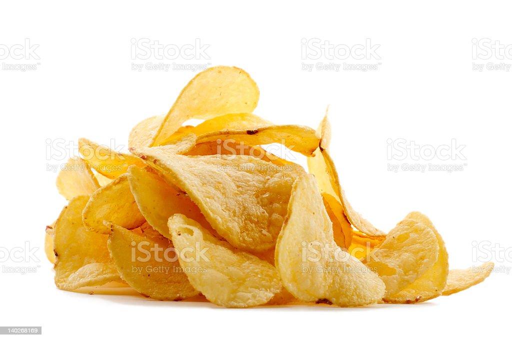 Pile of potato chips royalty-free stock photo