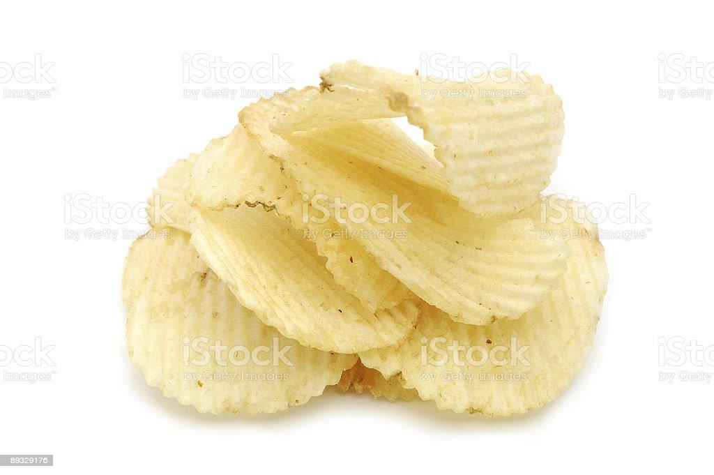 Pile of potato chips stock photo