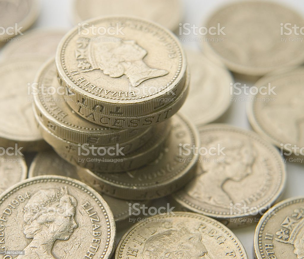 Pile of pound coins royalty-free stock photo