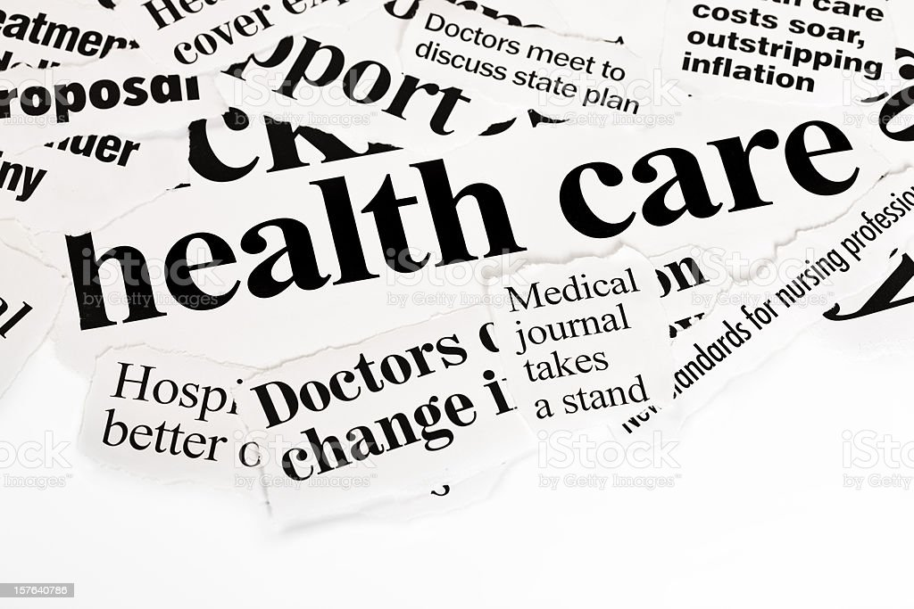 Pile of press headlines covering health care royalty-free stock photo