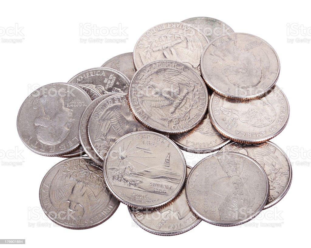 Pile of Quarters stock photo