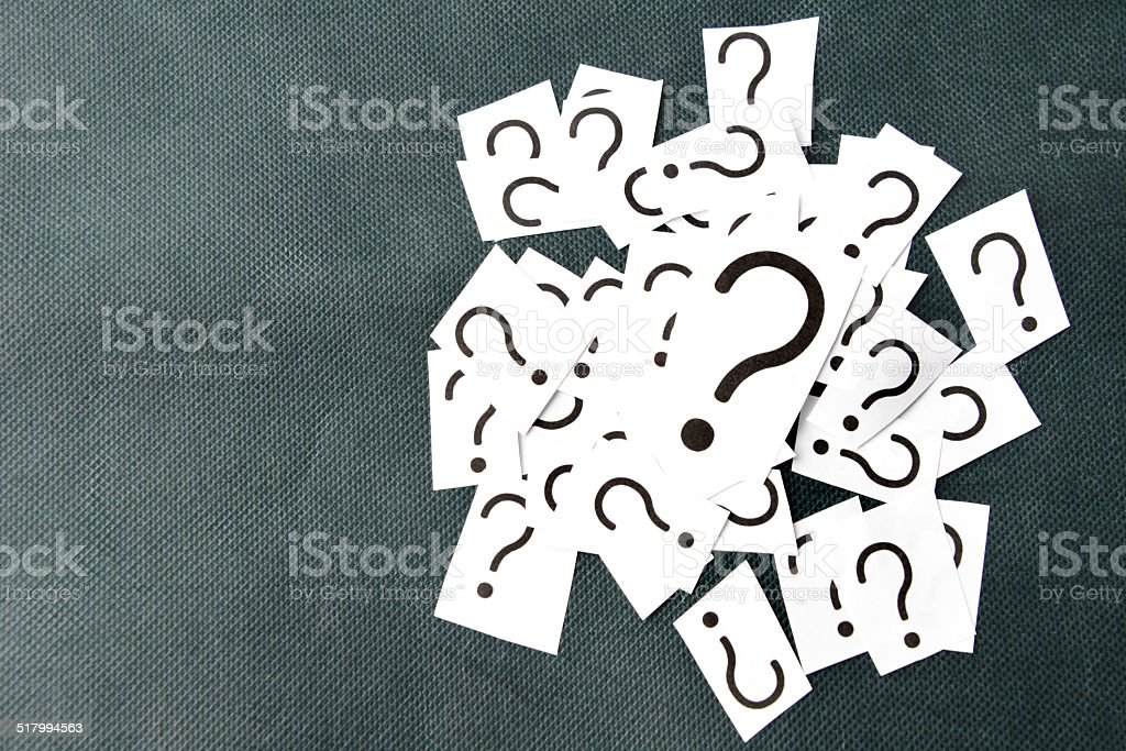 Pile of question marks stock photo