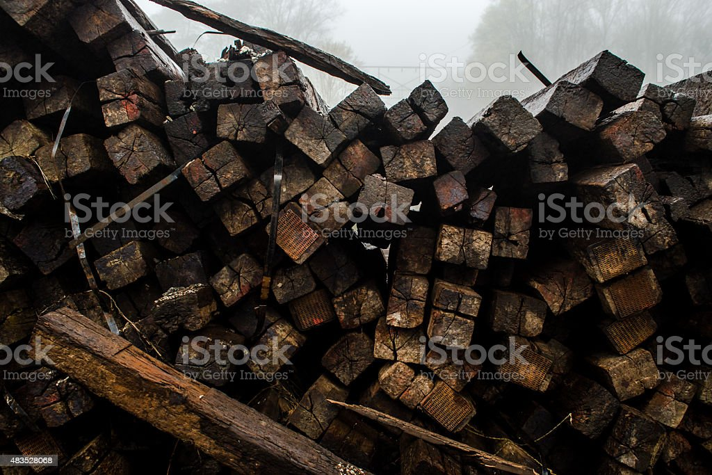 Pile of railroad ties create interesting texture stock photo
