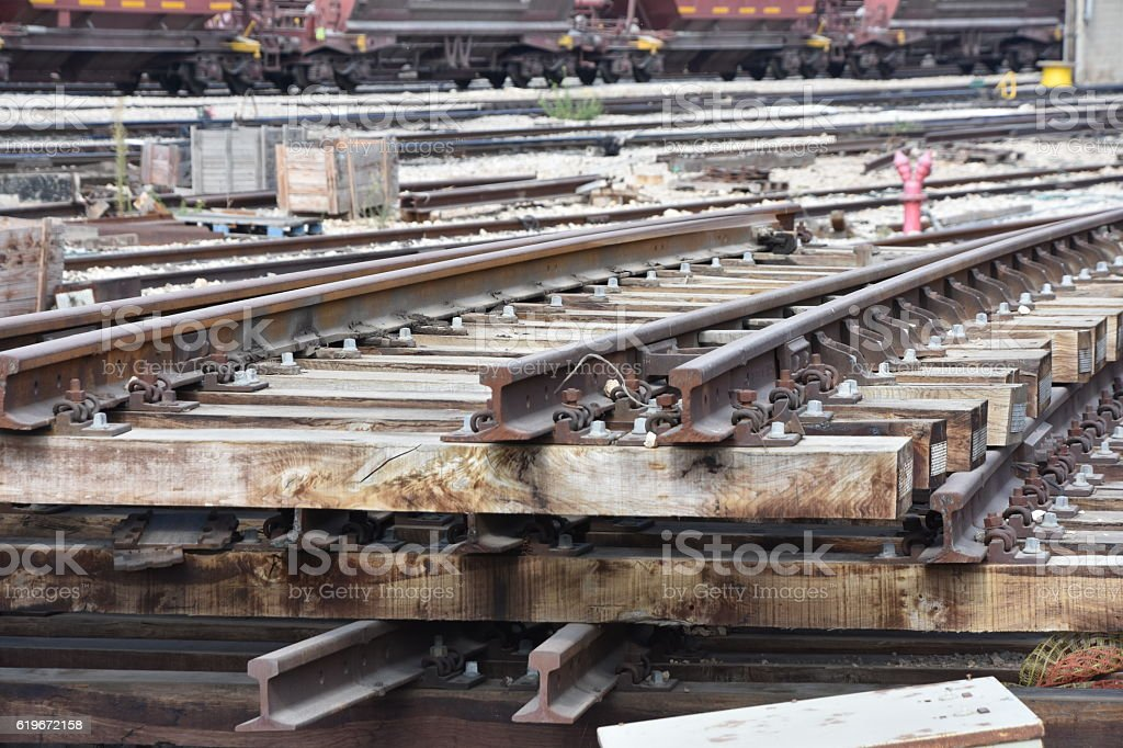 pile of railways stock photo
