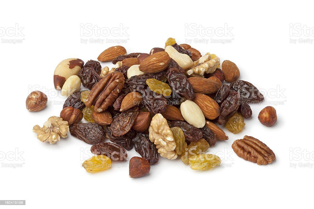 Pile of raisons and nuts stock photo
