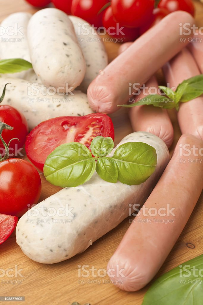 pile of raw  sausages royalty-free stock photo