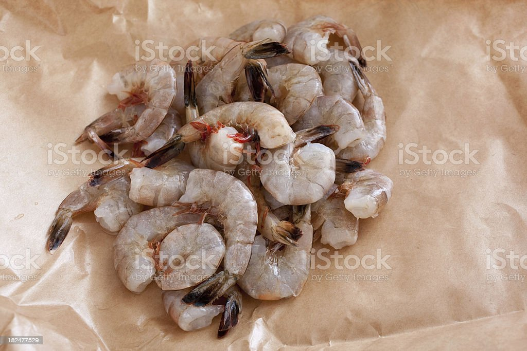 Pile of Raw Shrimp Prawn stock photo