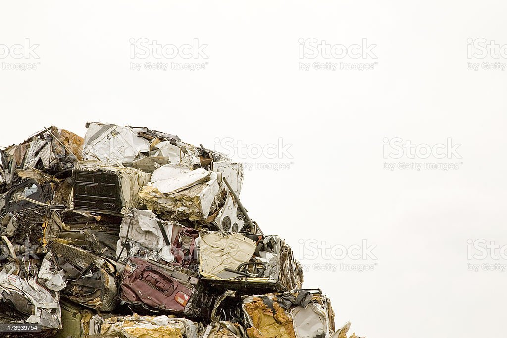 Pile of Recycled Metal with Copy Space on the right royalty-free stock photo