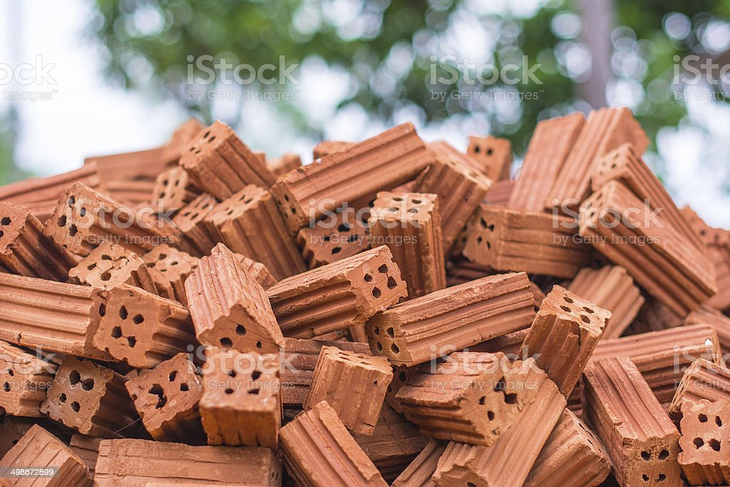 Pile of Red Brick royalty-free stock photo