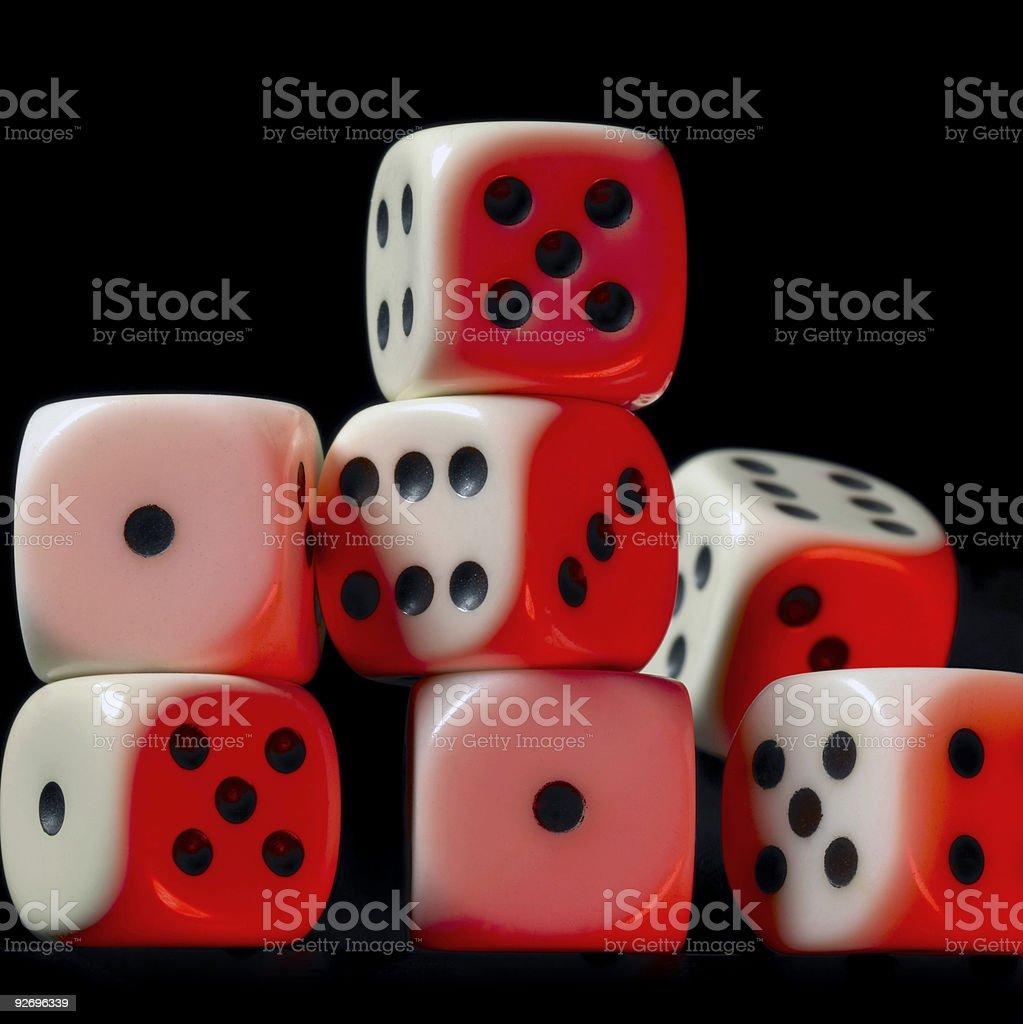 pile of red illuminated white dice stock photo
