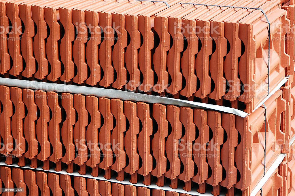 pile of red tiles stock photo