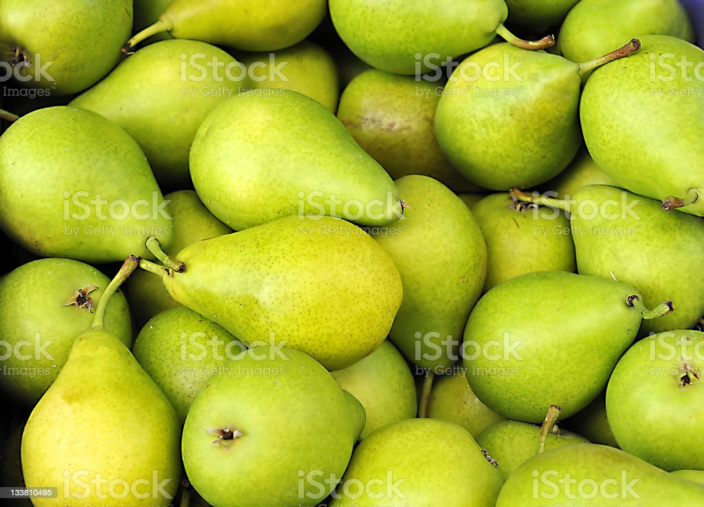 Pile of ripe fresh green pears stock photo