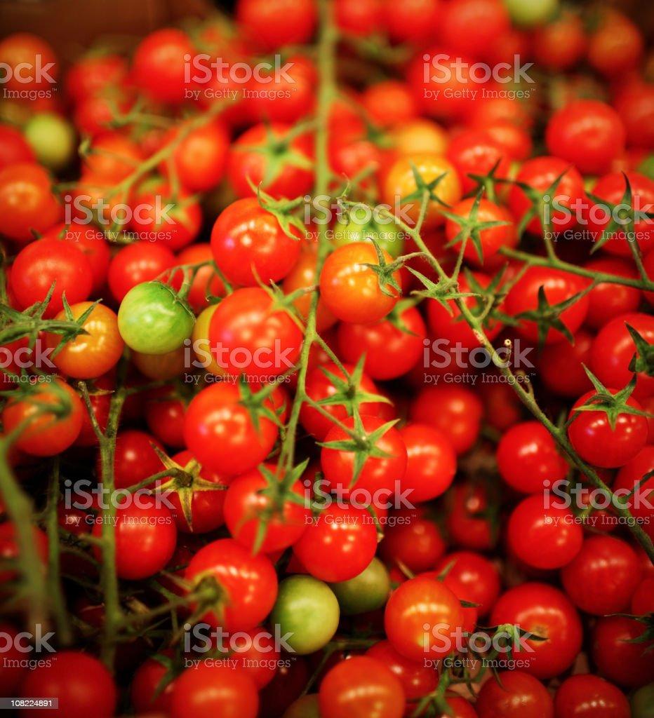 Pile of Ripe Organic Cherry Tomatoes royalty-free stock photo