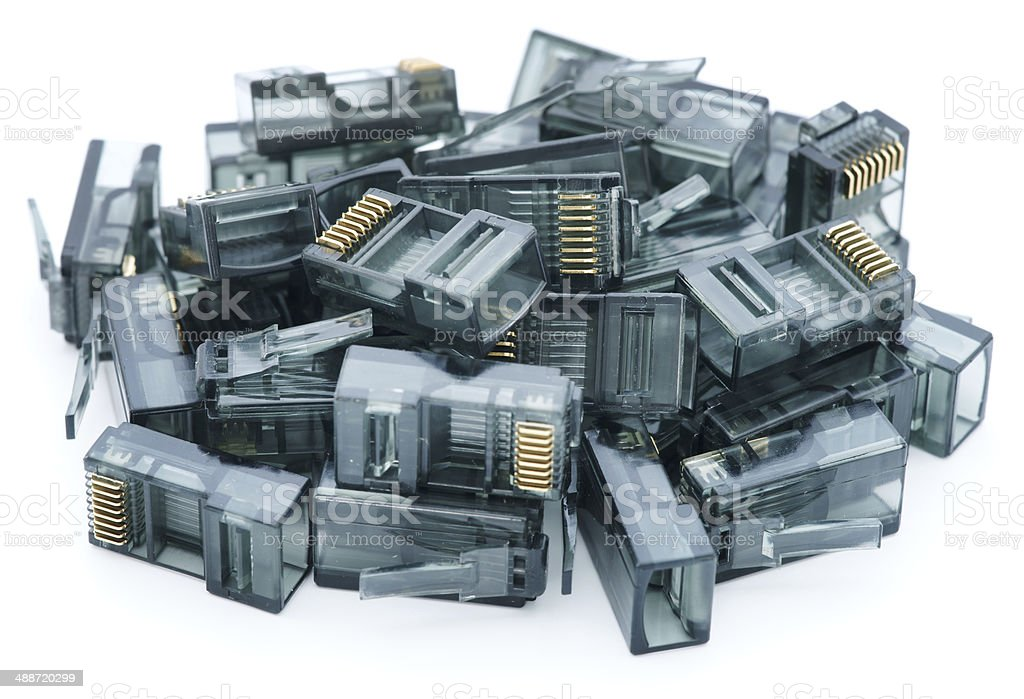 Pile of RJ45 connectors on white stock photo