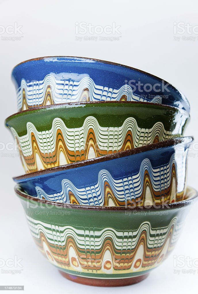 Pile of Romanian Bowls royalty-free stock photo