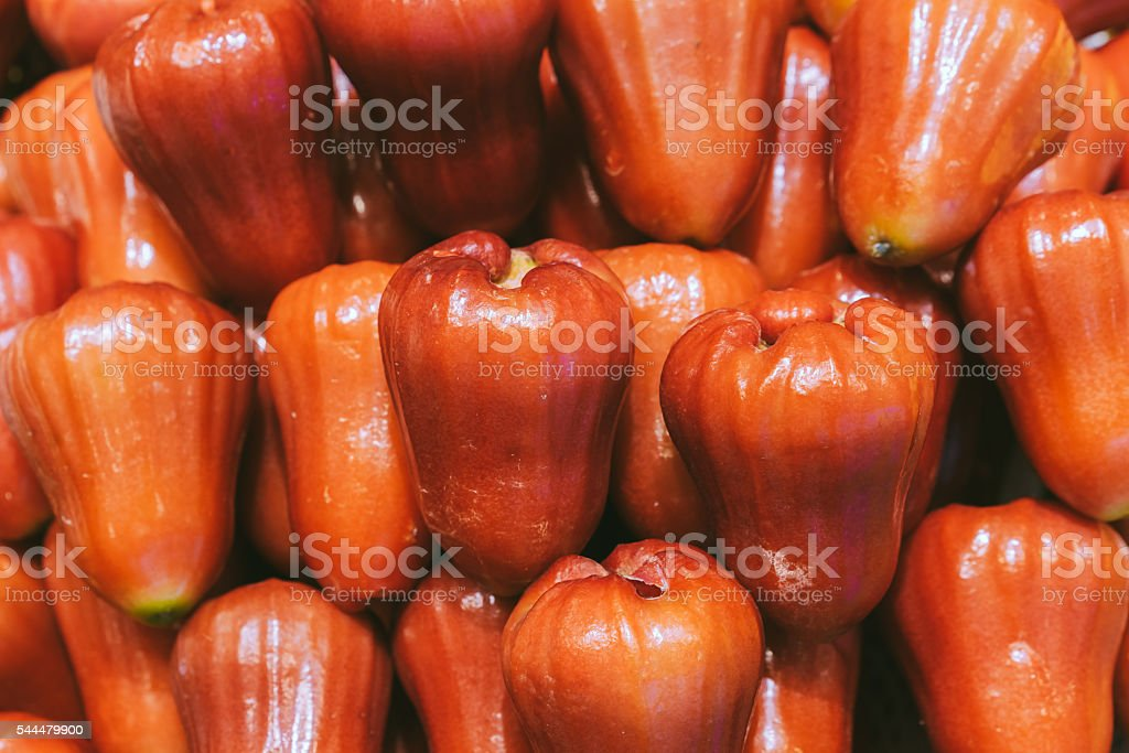 Pile of rose apples background, close up image stock photo