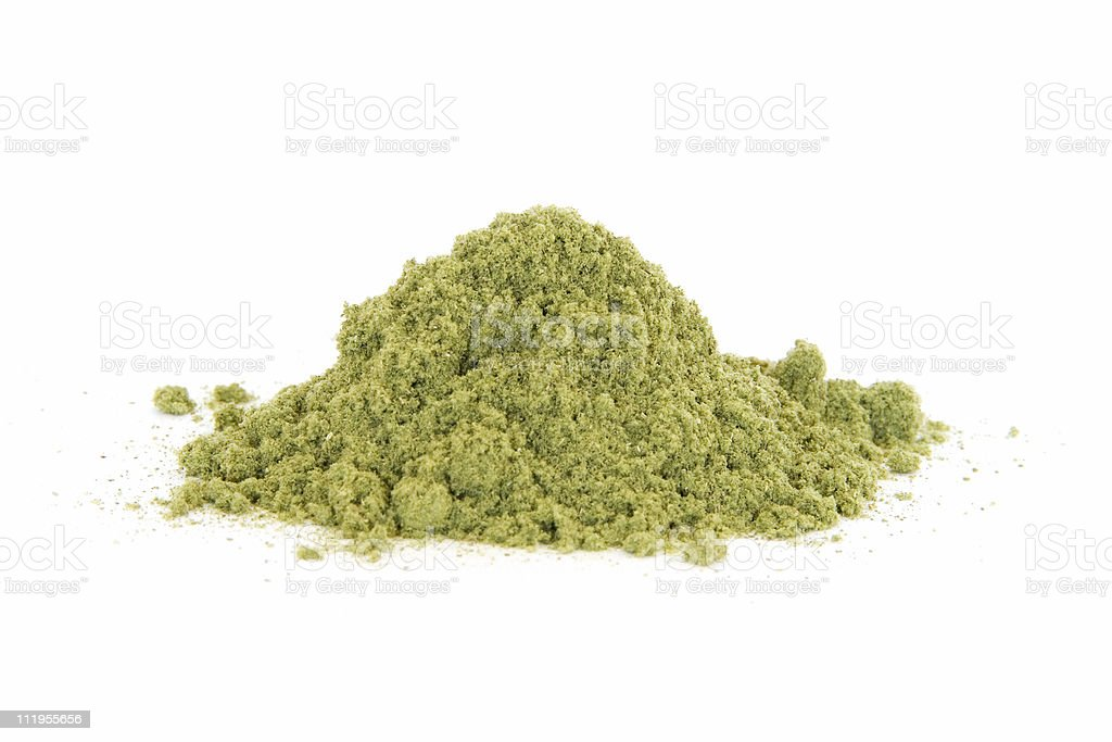 Pile of rubbed sage on white stock photo