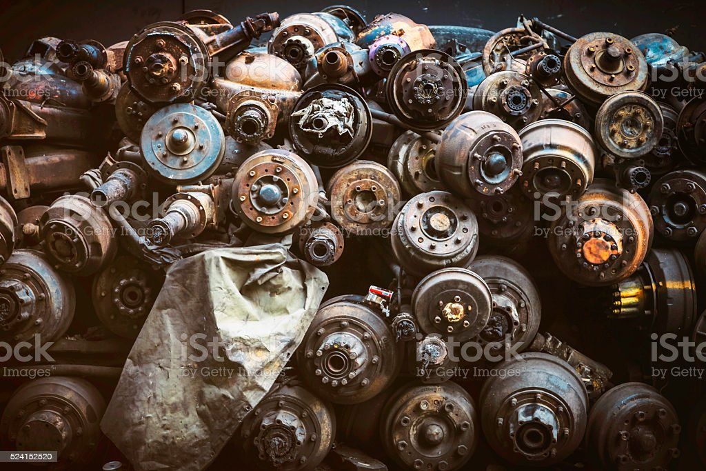 Pile of Rust Old Axles in a Scrap Yard stock photo