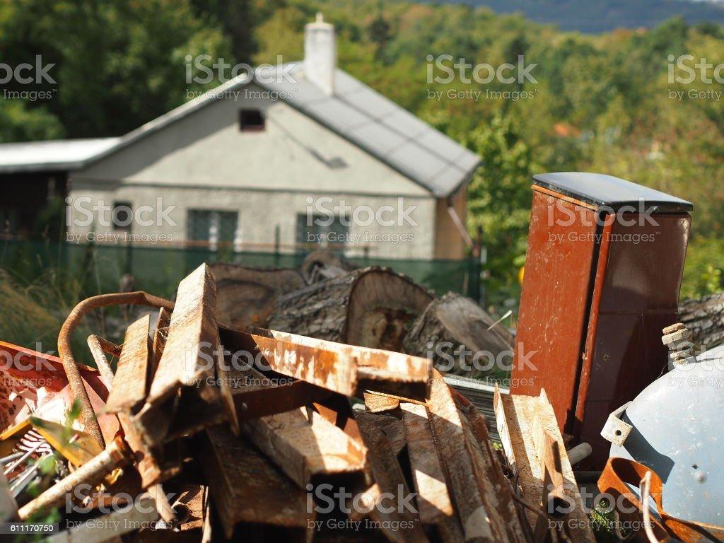 Pile of rust scrap metal. stock photo