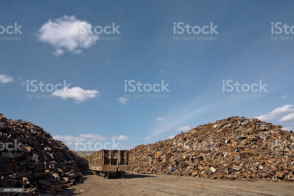 Pile of rusty scrap metal. stock photo