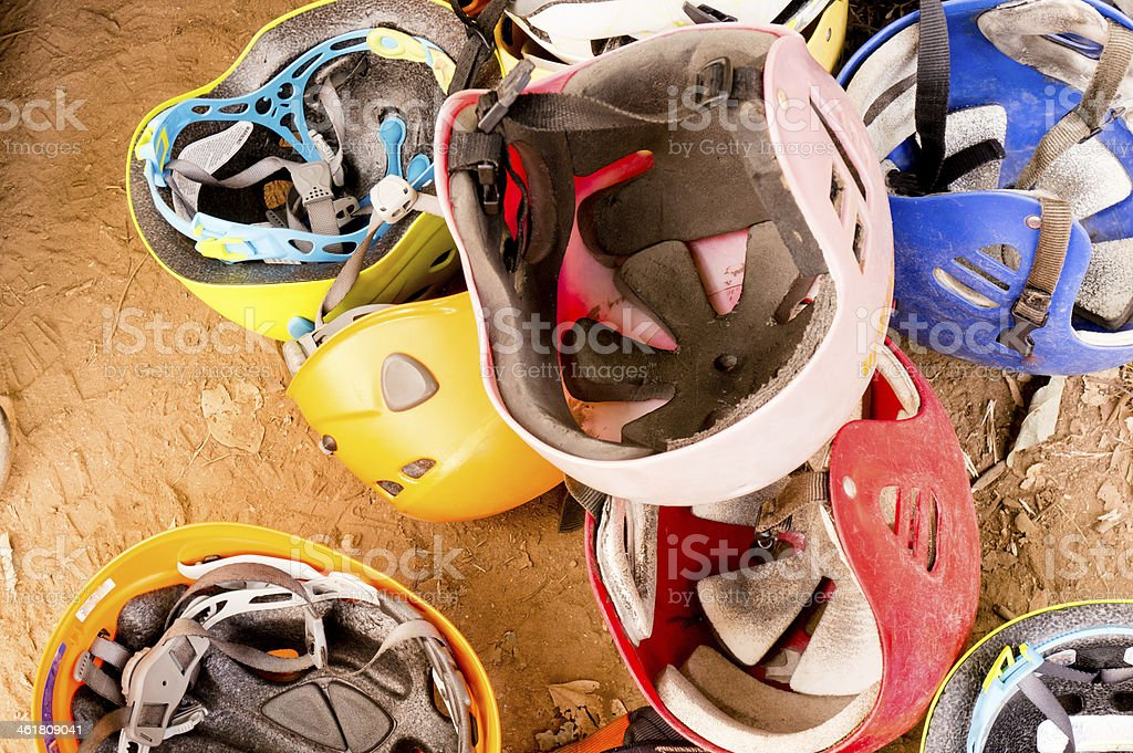 Pile of safety helmets stock photo
