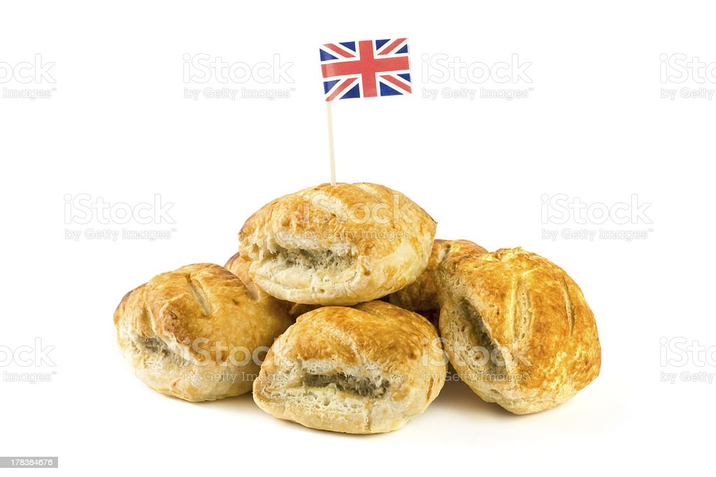 Pile of sausage rolls with union jack flag stock photo