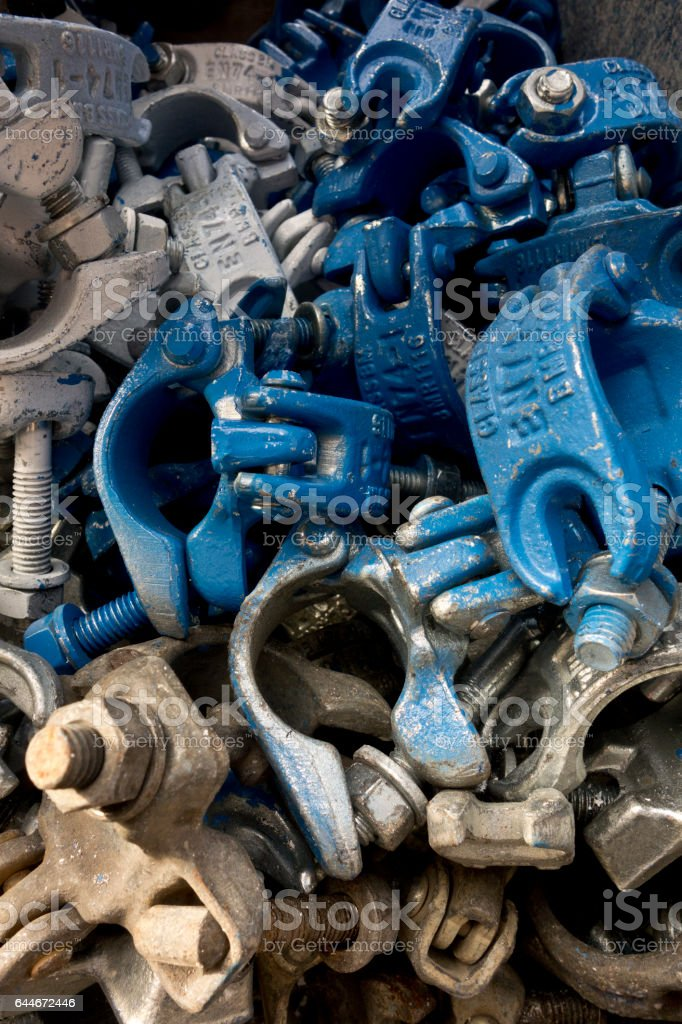 Pile of Scaffolding Clamp Grips stock photo