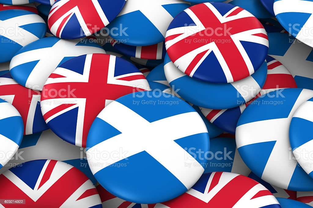 Pile of Scottish and British Flag Buttons 3D Illustration stock photo